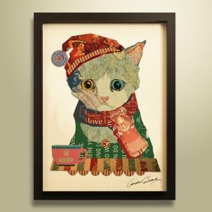 猫咪-手工拼贴装饰画 | 每幅都是独一无二的艺术品
