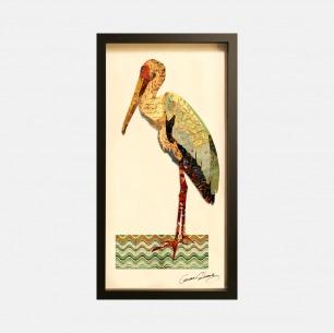 鹳鸟-手工拼贴装饰画 | 每幅都是独一无二的艺术品