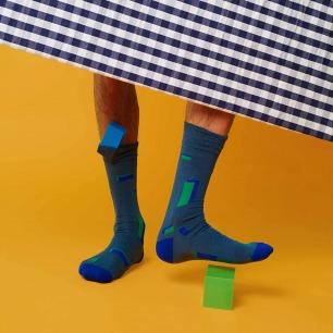 蓝绿方格几何图案袜子   原创个性图案 与众不同