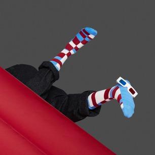 红白蓝条纹拼色袜子 | 原创个性图案 与众不同