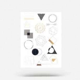 【买一赠一】小型几何图案  17个金色和黑色纹身贴