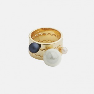 多圈珍珠戒指(金色) | 珍珠、镀黄金 造型独特