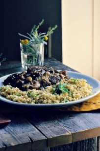 Eggplant & Mushroom Saute with Herbed Toasted Millet
