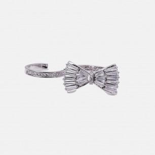 蝴蝶结二指钻石戒指       | 造型简约 华丽大方