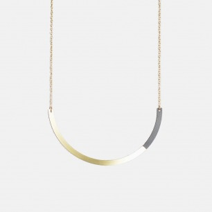 半圆形双材质拼色项链  | 俏皮的后现代主义风格