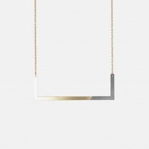 直角双材质拼色项链-黑色 | 俏皮的后现代主义风格