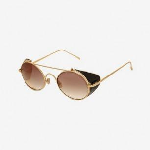 Italy Linda Farrow 2013 circular water snake skin and metal sunglasses
