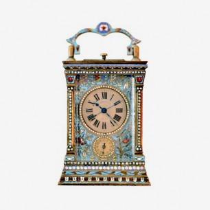 Pearl inlay enamel leather antique clocks珍珠镶嵌珐琅皮套古董钟