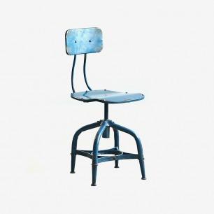 铁艺仿古旋转靠蓝色背凳
