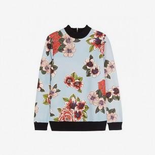 Chita 花卉印花棉质混纺套头衫