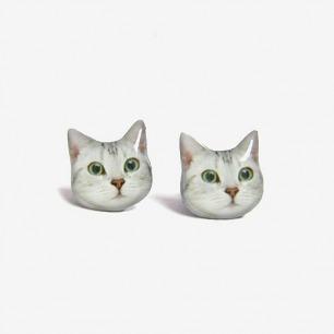 手工独立品牌Faz-jewelry 猫猫耳钉 白猫耳环