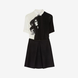 Victoria,Victoria Beckham | Printed silk and wool shirt dress | NET-A-PORTER.COM
