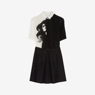 Victoria,Victoria Beckham|Printed silk and wool shirt dress|NET-A-PORTER.COM