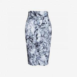 定制款 锡箔印花弹力后开衩高腰半身裙