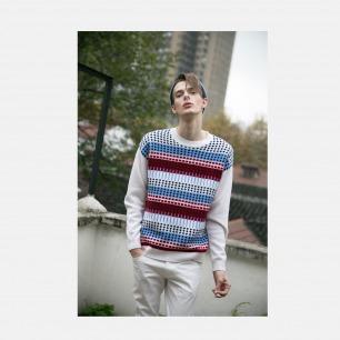 100%羊绒几何图案提花红白蓝落肩套衫