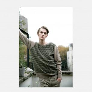 100%羊绒双色细绞花圆领套衫