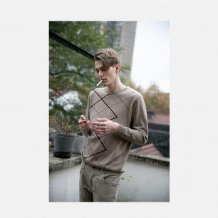 100%羊绒苏格兰风格手工嵌花工艺圆领套衫