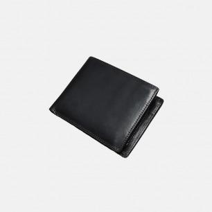 黑色短款两阶式钱包   经典简约款 意大利皮革打造