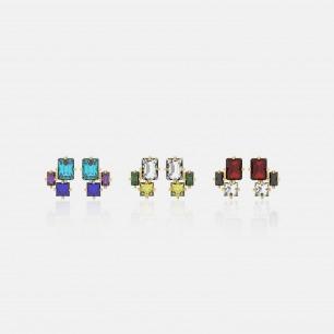 时尚方形锆石耳环 三枚   Ruby Wonder系列首饰