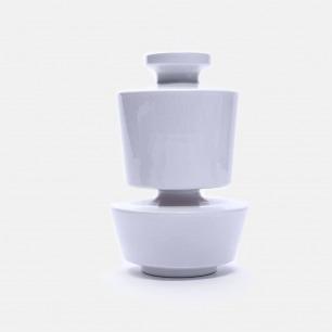 白色几何陶瓷花瓶V35 | 手工打造 精致富有艺术感
