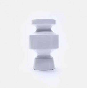 白色几何陶瓷花瓶V5 | 手工打造 精致富有艺术感