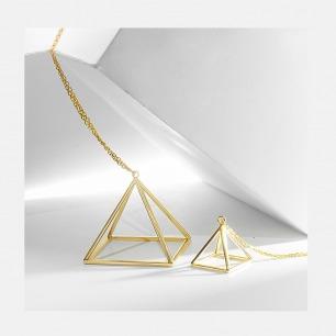 18K金立体金字塔 长项链 | 简约几何感设计 手工精制