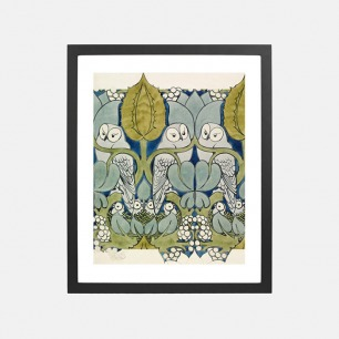 自然装饰画 猫头鹰的小巢 | 英国C. F. A. Voysey作品