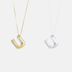 海水小珍珠银镀金U形项链 | 简约几何感设计 手工精制