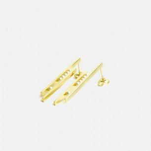 海水小珍珠 银镀金长耳钉  | 简约几何感设计 手工精制