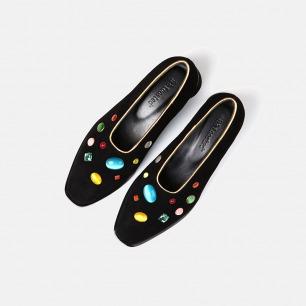 羊反绒彩石低跟鞋   小众独特又具艺术感的美鞋
