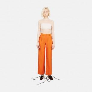 撞色直筒长裤(橘色)