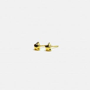 星星折纸耳钉 银镀18k黄金 | 简约几何形状 时尚趣味
