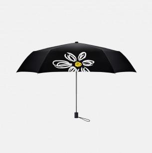 超轻便携 白色雏菊图案晴雨两用女士黑胶伞