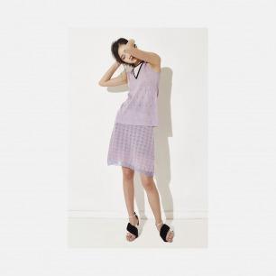 套装圆V结合领淡紫背心 + 套装淡紫色半裙