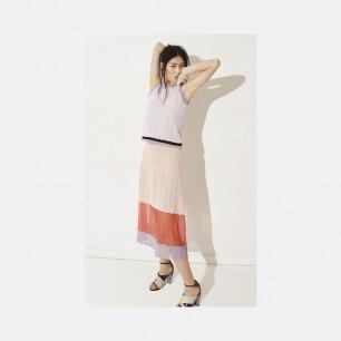 V领淡紫色黑条纹套装背心 + 淡粉紫半透明下摆套装半裙