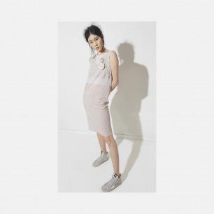 几何图案淡紫连衣裙 | 轻薄针织提花 舒适清凉