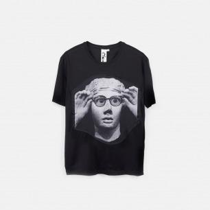 戴上眼镜的雕塑 男士纯棉精梳双丝光T恤 黑色