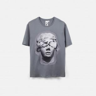 蒙上眼睛的雕塑 男士纯棉精梳双丝光T恤 灰色