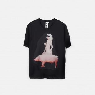 骑猪 I like riding 男士纯棉精梳双丝光T恤 黑色