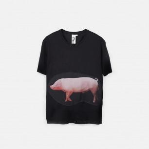 猪 swine 男士纯棉精梳双丝光T恤 黑色