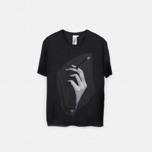 烟 cigarette 男士纯棉精梳双丝光T恤 黑色