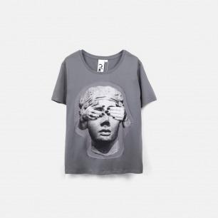 蒙上眼睛的雕塑 女士纯棉精梳双丝光T恤 灰色