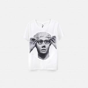 戴眼镜的雕塑 女士纯棉精梳双丝光T恤 白色