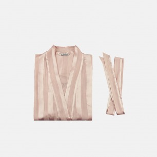 真丝女士条纹睡袍/家居服 | 优雅两色可选 藕粉色/白色