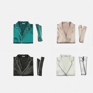 西装领纯色真丝睡袍套装 | 舒适有型的家居服 多色可选