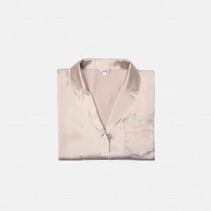 裸粉色真丝睡衣套装logo款 | 长/短袖两款可选 舒适亲肤