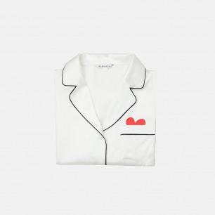 白色真丝睡衣套装 爱心款 | 长/短袖2款可选 赠真丝眼罩