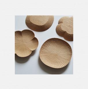 山舍手工木制花碟 两款可选 | 手工雕刻 匠心之作