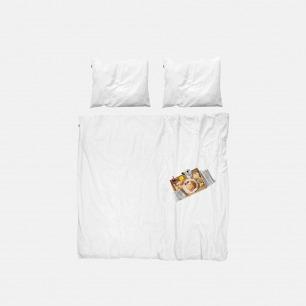 美味早餐印花床品三件套 | 纯白枕套2件+印花被套1件