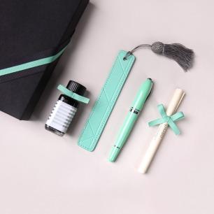 安迪薄荷绿钢笔墨水礼盒  | 高品质钢笔/墨水/书签套装